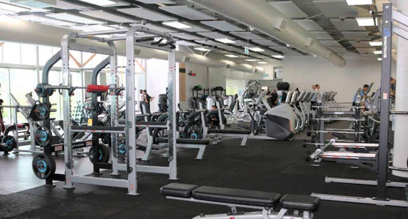 a photo of the fitness centre at albany stadium pool and weight machines, treadmills and bikes