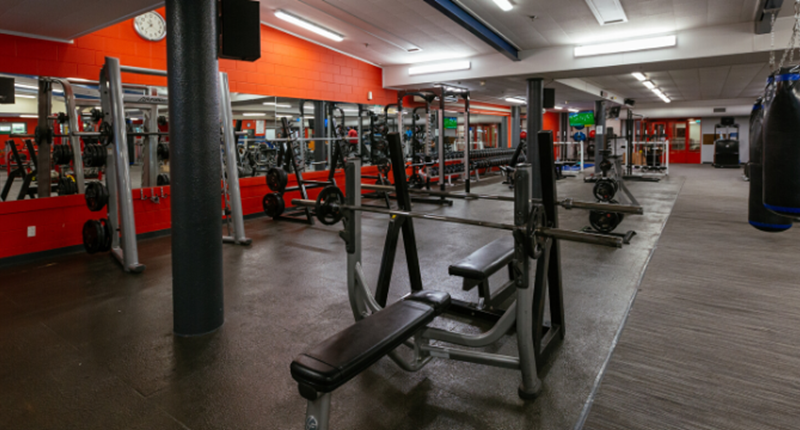 allan brewster fitness centre with weight machines and boxing bags