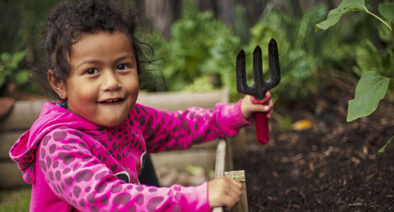 Generic kauri kids young girl with garden fork