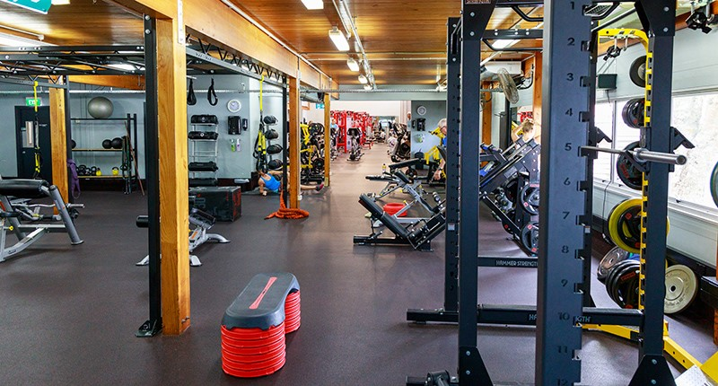 image of fitness floor with weight machines and weights